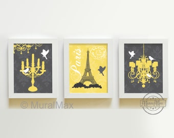 "Chandelier French Paris Trio Print wall art - Set of three 8"" x 10"" - Eiffel Tower-chandelier - Yellow and Gray"