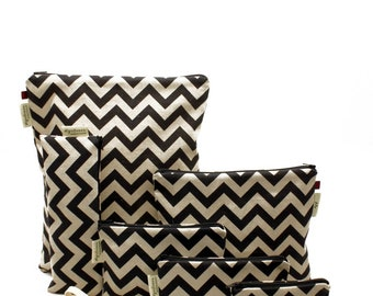 Linen Zigzag, Reusable Snack Bags, Zippered Pouch, Waterproof pouches, Pouch Set, Snack & Sandwich Bags, Geometric pattern, Baby Gift