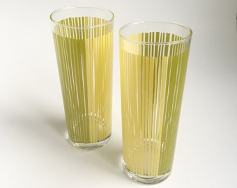 2 Green and yellow striped glasses