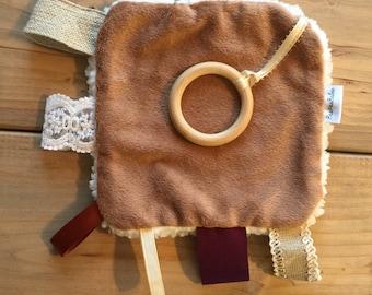 Boho Baby Wooden Ring Teething Crinkle Toy Tag Mini Blanket Baby Shower Gift