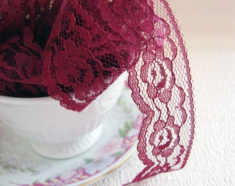 Dark Red Lace, Vintage Lace Trim, Scalloped Flower Lace in Red Wine Burgundy, 5 Yards
