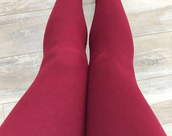 "Leggings for women, ultra comfortable in ""brushed poly"" burgundy polyester/spandex"