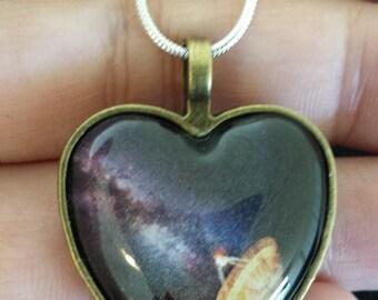 Heart shaped Radio Telescope pendant necklace