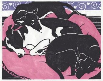 PUPSTERS - Original handmade woodblock print; 3 dogs cozy on a big pillow