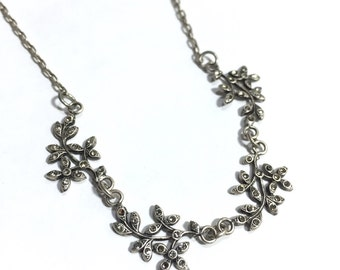 Lacy Flower Necklace of Swarovski Crystals in an Antique Silver Finish