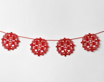 Red Double Happiness Felt Chinese Wedding Garland/Poster