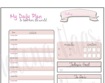 Daily Planner Insert for Happy Planner w To Do, Gratitude, Habit Tracking, Schedule, meal planning, water hydrate tracker, quote & self care