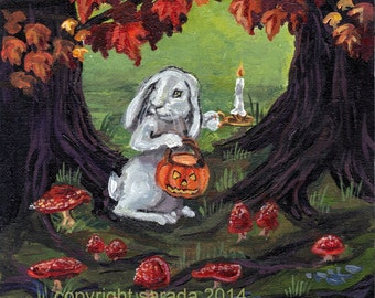 Halloween gothic storybook art PRINT choice of 5 x 7 or 8 x 10, white rabbit, autumn woods, mushrooms, dark hollow forest fantasy art