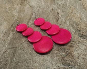 Shocking Pink Earrings - Shocking Pink Wooden Earrings - Pink Wood Earrings -Dangle Earrings-Pink Earrings -Geometric Earrings-Long Earrings