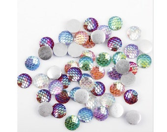 12 or 40 Mermaid Scales Dragon Scales Resin Flatback Dome Cabochons for Crafts Jewelry Findings Supplies SMALL 12mm