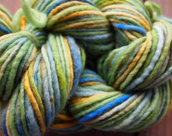 Handpainted Yarn Wool 76yards 1.5 ounces Worsted Weight Knitting Aspenmoonarts Hand Painted Green Blue CW033A Felting