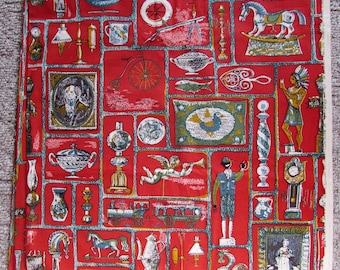 1952 rare Aaron Bohrod Decorator Fabric 7 yds Riverdale Country Auction, Americana upholstery fabric