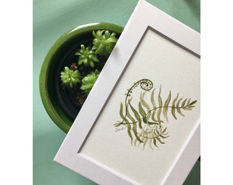 """Frond: 7""""x5"""" Fern Fronds Botanical Watercolor Matted Print"""