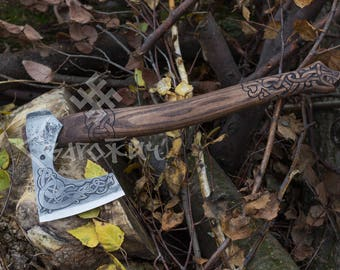 Hand Forged Viking Axe with etching on the head and Drakkar head on the handle with Leather Case, Viking Bearded Axe, Camping Hatchet
