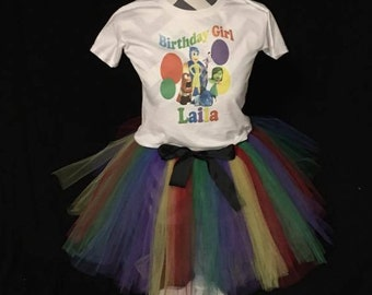 Inside Out Birthday Outfit, RainbowTutu, Inside Out Shirt, Girls Birthday, Custom birthday shirt, Inside Out Birthday