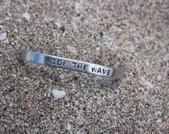 Ride The Wave Hand Stamped Cuff Bracelet - Beach Jewelry - Surf Ocean Girl - Enjoy the Journey - Graduation - Sup Yoga