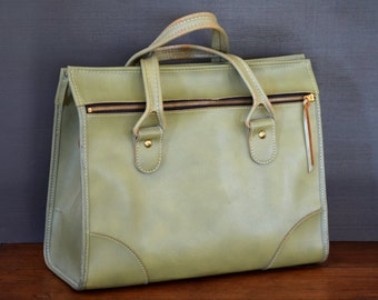 Vintage Green Hartmann Carry On Bag, Large Handbag. Sage Green. Faux Leather. Overnight Bag, Retro Luggage.