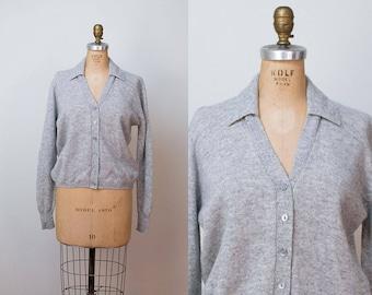 1960s Wool Cardigan / 60s Heather Gray V Neck Sweater