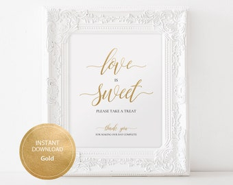 Love is Sweet Sign 8x10 Calligraphy Dessert Table DIY Wedding Printable Image Digital cake table sign INSTANT DOWNLOAD Gold #DP130_43