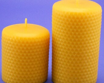 Beeswax Honeycomb Candles, 3.2 x 3 and 3.2 x 5 Pair of Beeswax Candles, Organic Beeswax Candles, Table Candles, Beeswax Candle Pillars