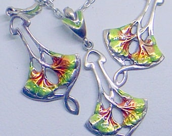 Enamel Art Nouveau Necklace And Earrings  - Ginko  - Sterling Silver - Green Orange Brown Guilloche' Enamel - Lovely - Dangle Earrings