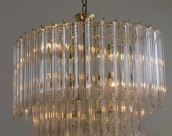 MCM Lucite Three Tiered Stunning Chandelier / 70s Modern Chandelier Perfect Cond./ MCM Glass Pendant Brass and Lucite Hanging Lamp