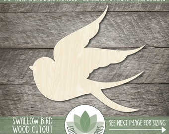 Wood Swallow Shape, Blank Wood Cutouts, Wooden Swallow Bird Cutout, Unfinished Wood Shapes For DIY Projects, Wood Bird Shapes