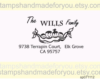 Address stamp Personalized Self ink  Peas in a pod  - Family Custom Return Address stamp -  Rubber Stamp  - personalized stamps