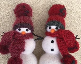 "Handmade Felted Snowman 5.5"""