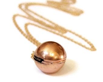 Secret Message Locket - Vintage Copper Ball Locket Necklace