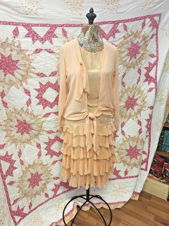 Silk Drop Flapper Peach Gatsby Dress Downtown Waist Art Great Sheer Deco Dress 1930 Abby Charleston enhancement Wedding Gown Ruffle Chiffon r0qXfw0
