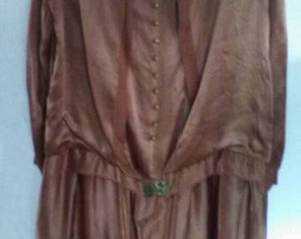 Wounded But Wonderful 20s Shimmery Copper Silk Formal Dress with Original Embellishments - As Is - M/L