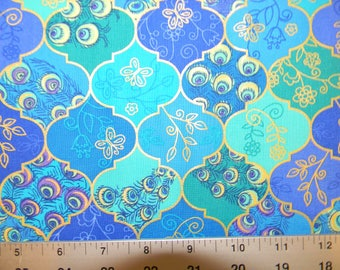 Stunning Tiles  in Blues and Purples Cotton Fabric