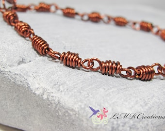 Antiqued Copper Wire Spiral Link Bracelet, Wire Wrapped Link Bracelet, Boho Copper Jewelry