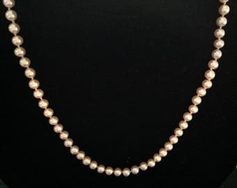 Vintage Pink Glass Pearl Necklace   (Knotted)