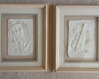 Hand Cast Paper Framed - Theater Arts and Music Themes - Set of 2 - Figi Graphics Signed PC - Vintage Wall Decor