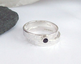 Sapphire Engagement Wedding Ring Set , 925 Sterling Silver Wedding Jewellery, Proposal Ring, Silver Engagement Ring, Silver Wedding Ring,