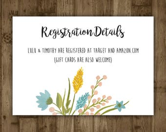 Wedding Registration Details Card - Blue Watercolor Flowers