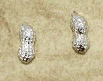 Silver Peanut Earrings, Peanut Stud Earrings in Sterling Silver
