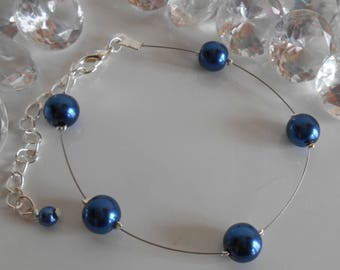Simplicity wedding bracelet dark blue beads