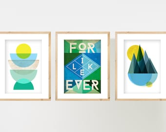 PRINTS SET. Set of 3 Abstract Geometric A4 Prints. Geometric Wall Art, Abstract Decor, Minimalist Posters, Typography Posters, Mid Century