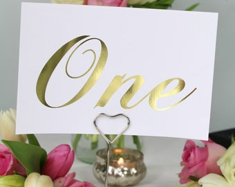 Wedding Table Numbers, gold foil table numbers, Wedding signs, table decor, wedding decor, wedding signs
