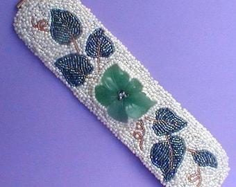 Beaded Carved Green Stone Flower Cuff Bracelet