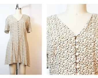 Sage Floral Pearl Button 90s Vintage Romper Grunge Lolita Small