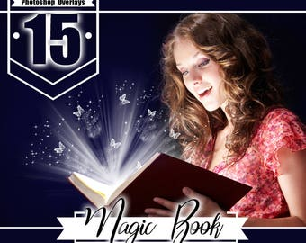 15 magic shine book overlays, Photoshop Overlays, christmas present, Photo overlay, magical glow light effect, png file