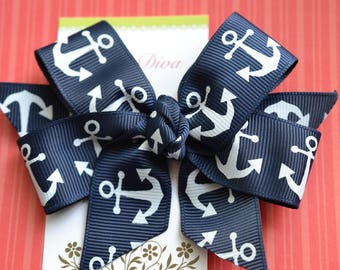 Navy with White Anchors Classic Diva Bow