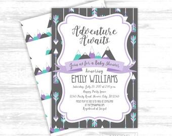 Girl baby shower invitation tribal girl baby shower invitation Adventure awaits purple teal mint Mountain Baby Shower girl  (ADV014)
