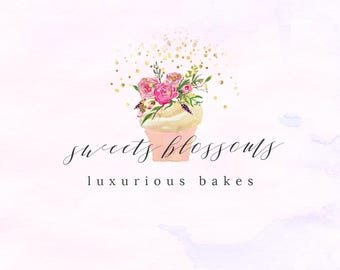 Hand-painted Watercolor Floral Cupcake Pre-made Logo Design in gold and pastel colors