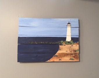 """Lighthouse on the sea, acrylic on reclaimed wood. 23 x 17"""""""