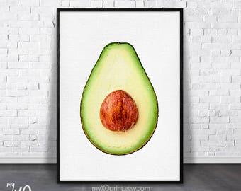Avocado Print, Tropical Kitchen Decor, Modern Kitchen Art, Tropical Fruit, Green Wall Art, Printable Poster, Digital Download, Gift for Mom